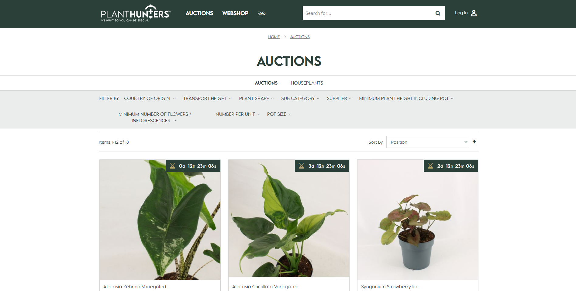 Veilingpagina Planthunters